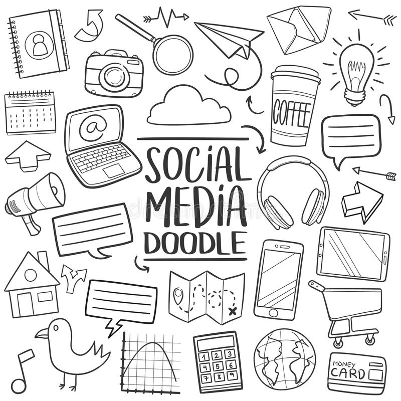 Social Media Traditional doodle icon hand draw set stock illustration