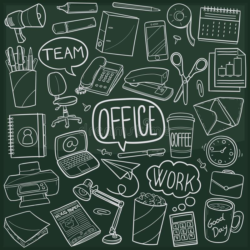 Office Work Traditional Doodle Icons Sketch Hand Made Design Vector vector illustration