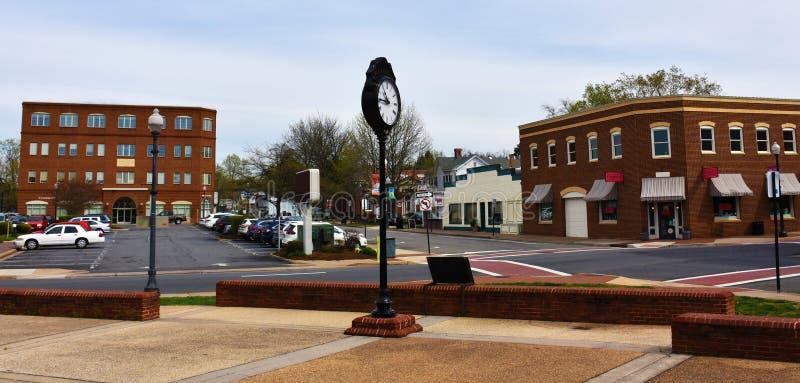 Emblematische klok in Oude Stad Manassas, VA royalty-vrije stock afbeelding