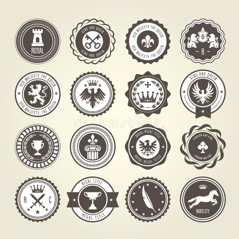Emblematy, blazons i heraldyczne odznaki, - round etykietki royalty ilustracja