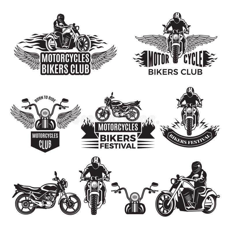 Emblematy lub logów projekty dla klubu rowerzyści Ilustracje obyczajowi motocykle i siekacze ilustracji