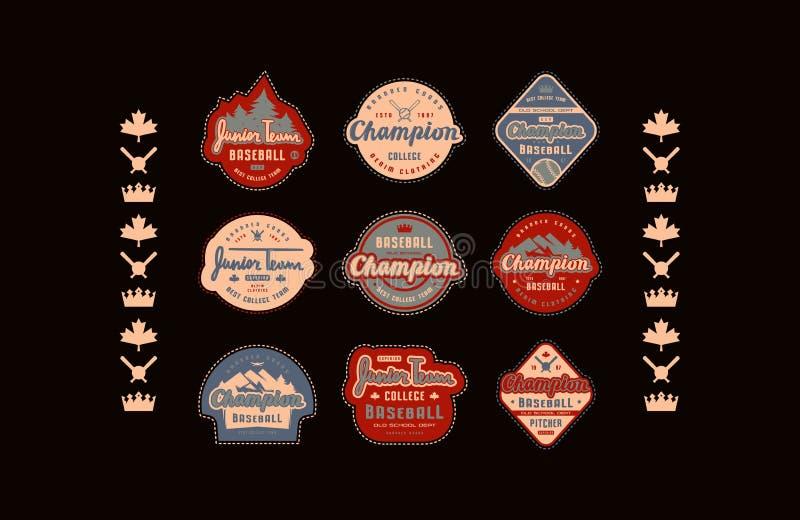 Emblematy, odznaki i odzieży łaty set drużyna basebolowa, ilustracji
