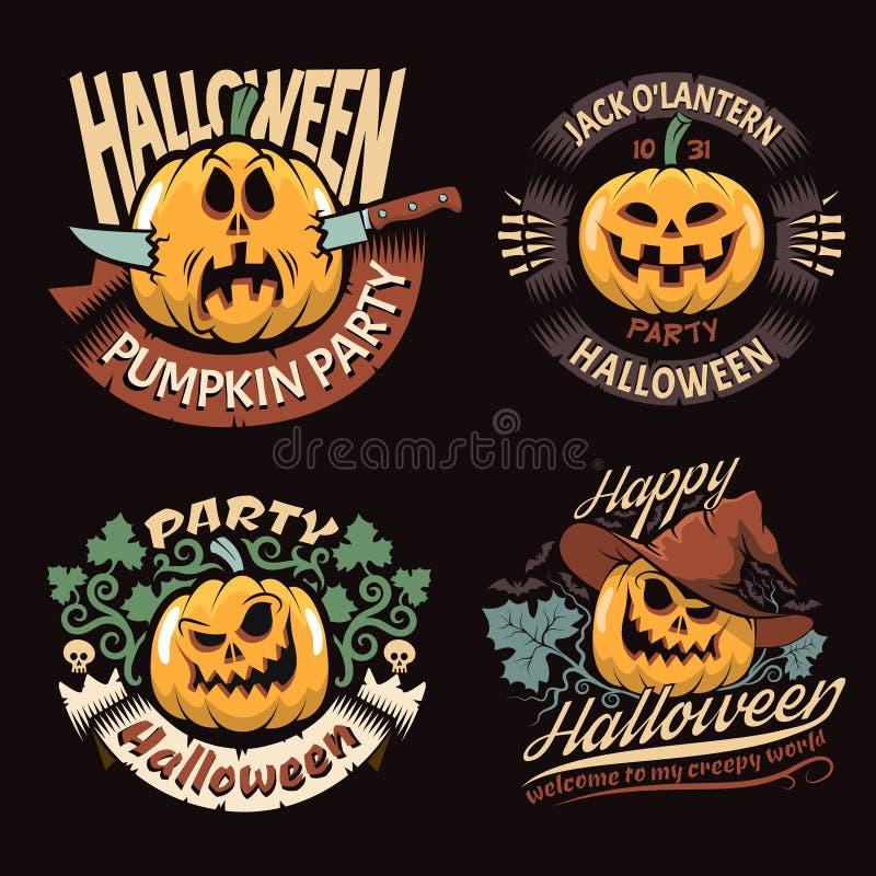 Emblematy z Halloweenową banią royalty ilustracja