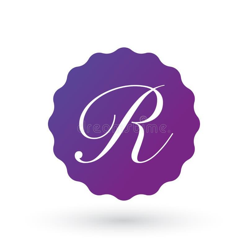 emblemdesignbeståndsdelar, mall för bokstav R Calligraphic logodesign för elegant konst bokstav r Tappning Affärstecken, identite stock illustrationer