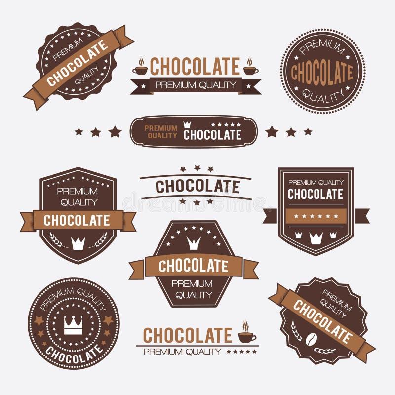 Emblemen en de etiketten van het chocolade de uitstekende retro ontwerp royalty-vrije illustratie