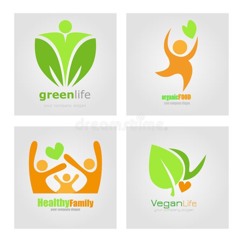 Emblemen geplaatst het vegetarische dieet van de veganistnatuurvoeding Het gezonde Vectoretiket van de familielevensstijl Detoxem stock illustratie