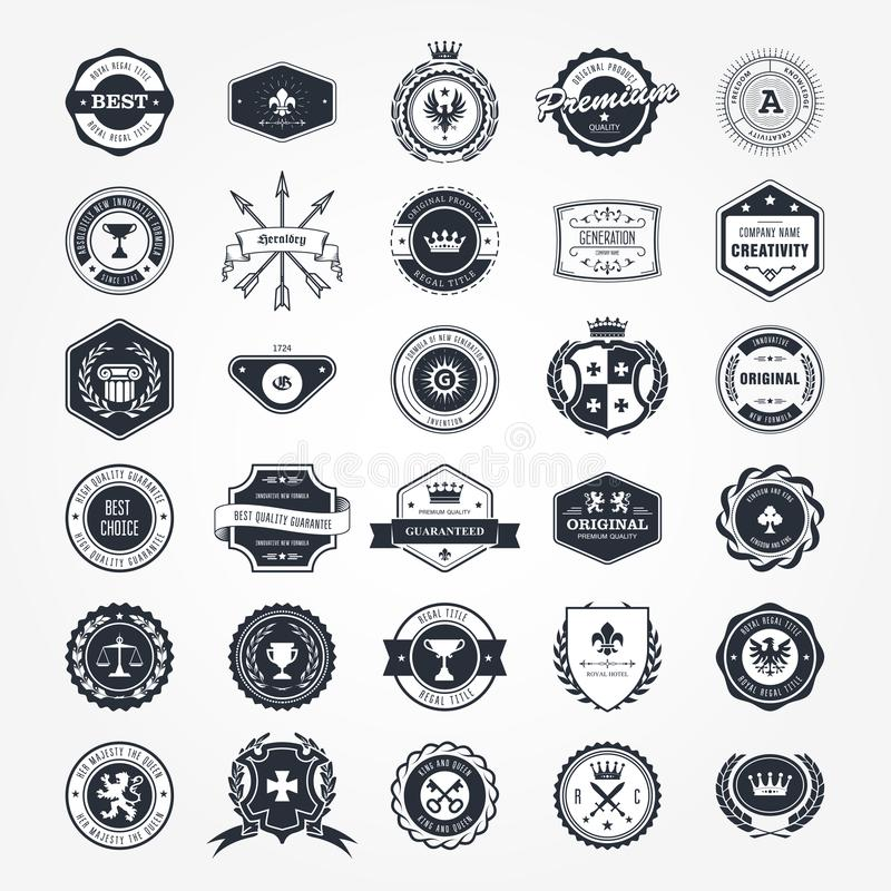 Emblemen, kentekens en retro verbindingen - blazons en etiketten royalty-vrije illustratie