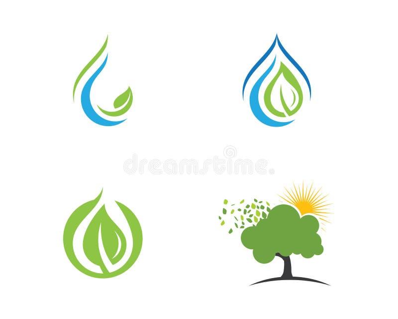 Emblemen van de groene aard van de bladecologie vector illustratie