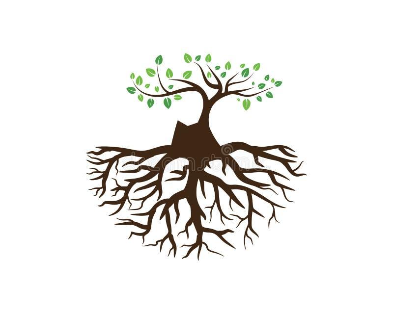 Emblemen van groene de ecologieaard van het Boomblad vector illustratie