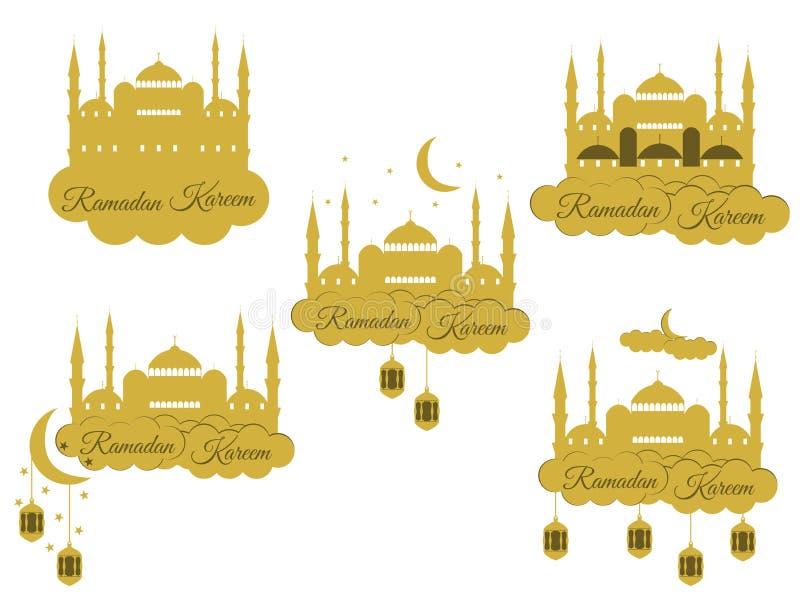 Emblemen voor Islamitische vakantieramadan Ramadan Kareem, blauwe moskee, minaret, lantaarn en maan, moslimvakantielichten stock illustratie