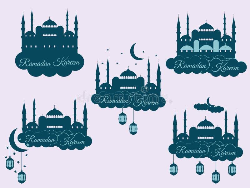 Emblemen voor Islamitische vakantieramadan Ramadan Kareem, blauwe moskee, minaret, lantaarn en maan, moslimvakantielichten royalty-vrije illustratie