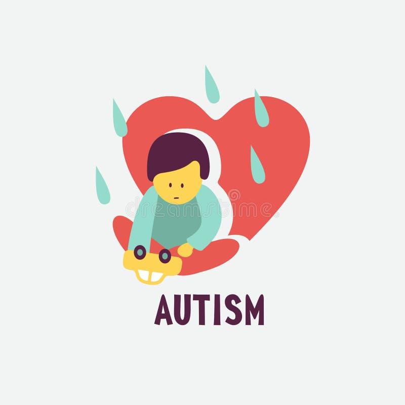 _ Emblemet av syndrommen av autism i barn Childr royaltyfri illustrationer