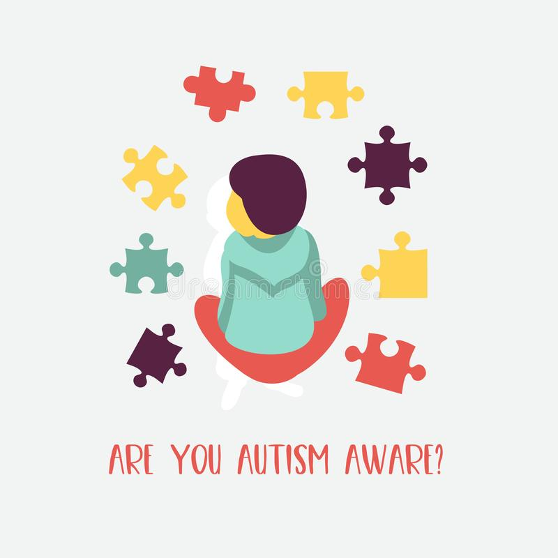 _ Emblemet av syndrommen av autism i barn Childr stock illustrationer