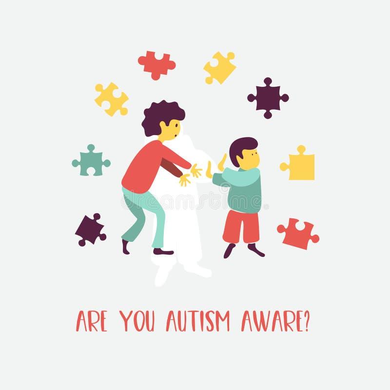 _ Emblemet av syndrommen av autism i barn Childr vektor illustrationer