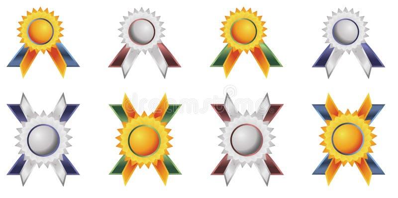 emblemetiketter royaltyfri illustrationer