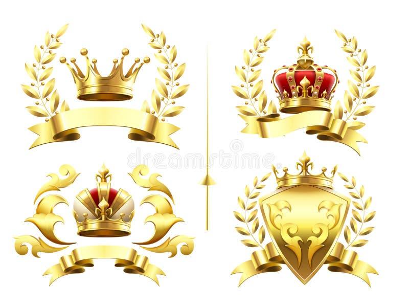 Emblemi araldici realistici Insegne con la corona dorata, la medaglia dell'oro e l'emblema d'incoronazione con le corone reali su illustrazione di stock