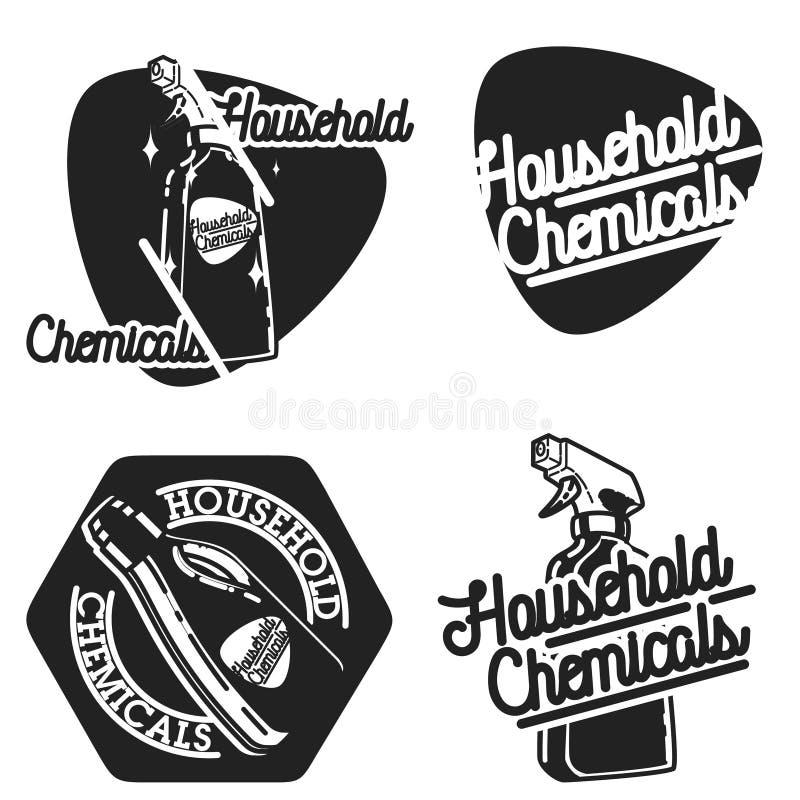 Emblemi d'annata dei prodotti chimici di famiglia di colore illustrazione di stock