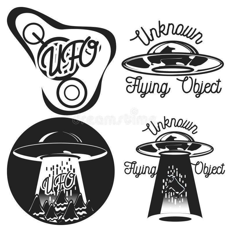 Emblemi d'annata del UFO royalty illustrazione gratis