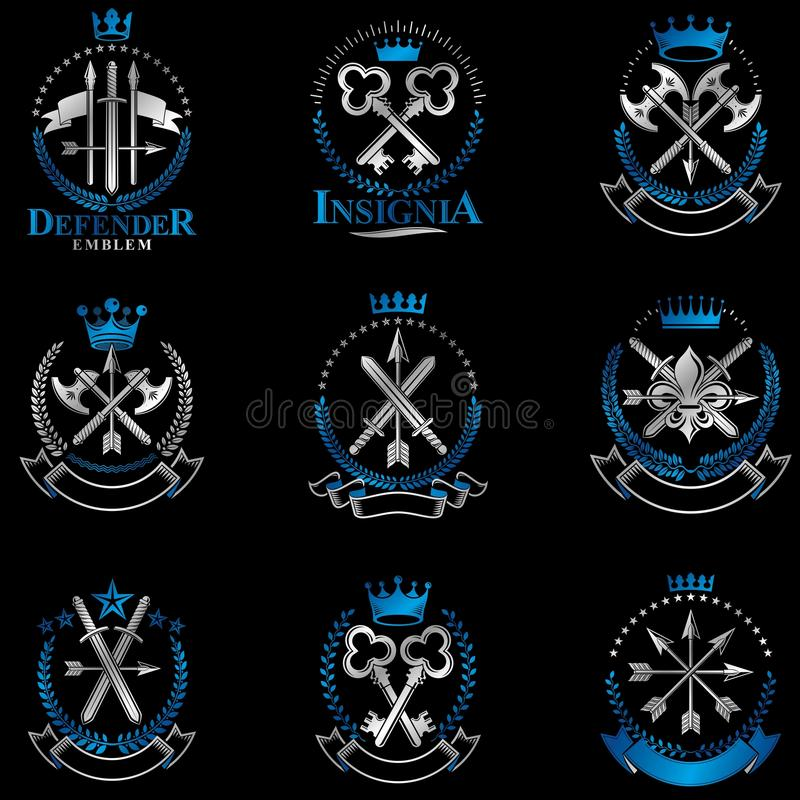 Emblemi d'annata dell'arma messi Colle d'annata degli elementi di progettazione di vettore illustrazione vettoriale