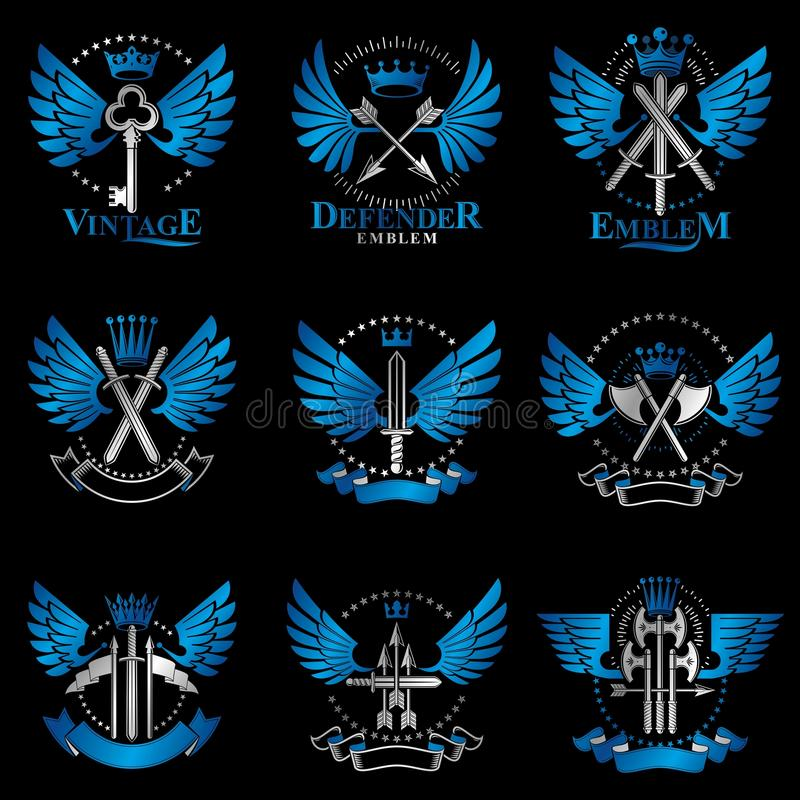 Emblemi d'annata dell'arma messi Elemen araldici dell'annata di vettore dei segni illustrazione di stock