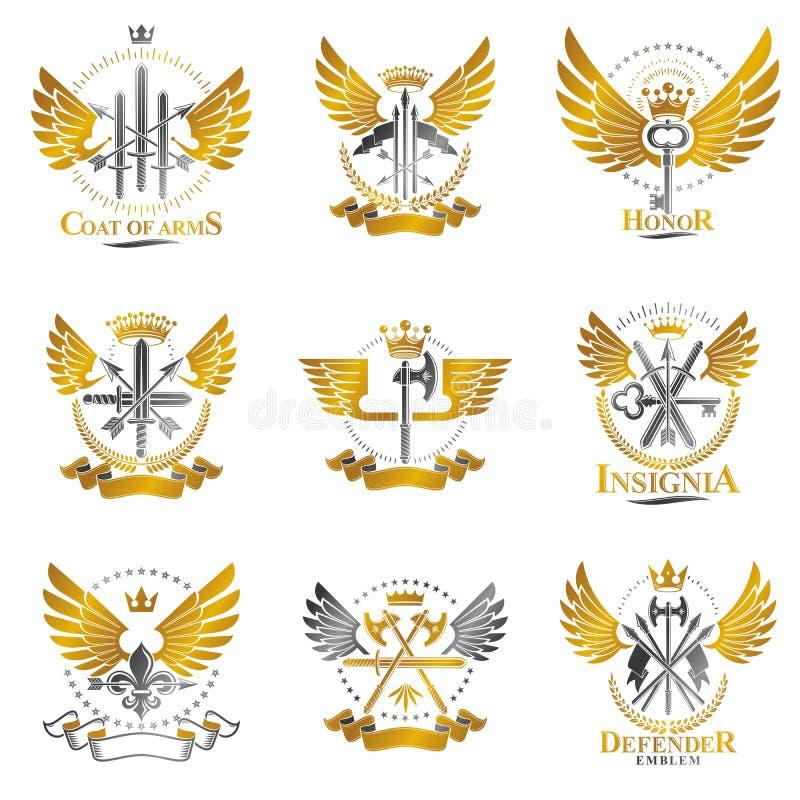 Emblemi d'annata dell'arma messi Gli emblemi decorativi della stemma araldica hanno isolato la raccolta delle illustrazioni di ve illustrazione vettoriale