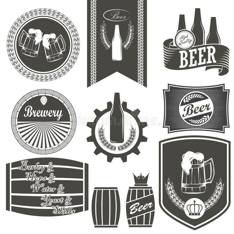 Emblemi d'annata della fabbrica di birra della birra immagini stock