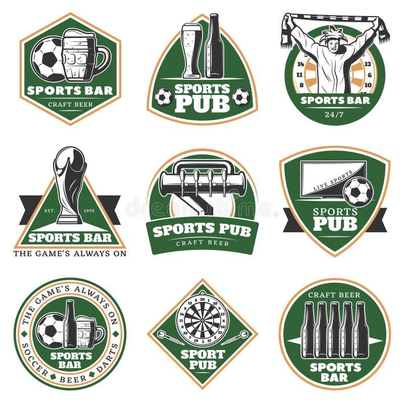 Emblemi d'annata variopinti del pub di sport messi illustrazione vettoriale