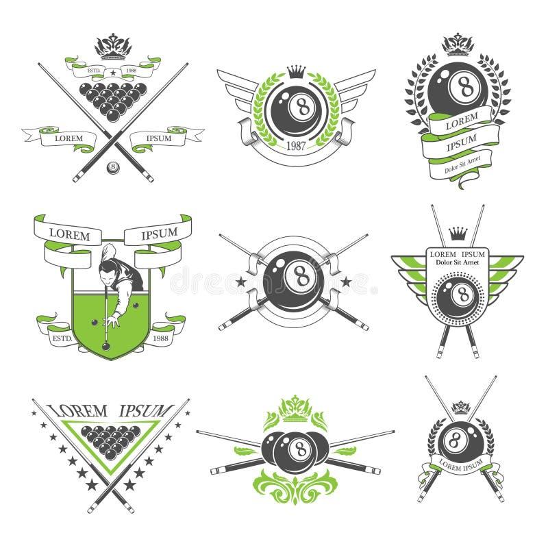 Emblemi del biliardo ed elementi di progettazione illustrazione di stock