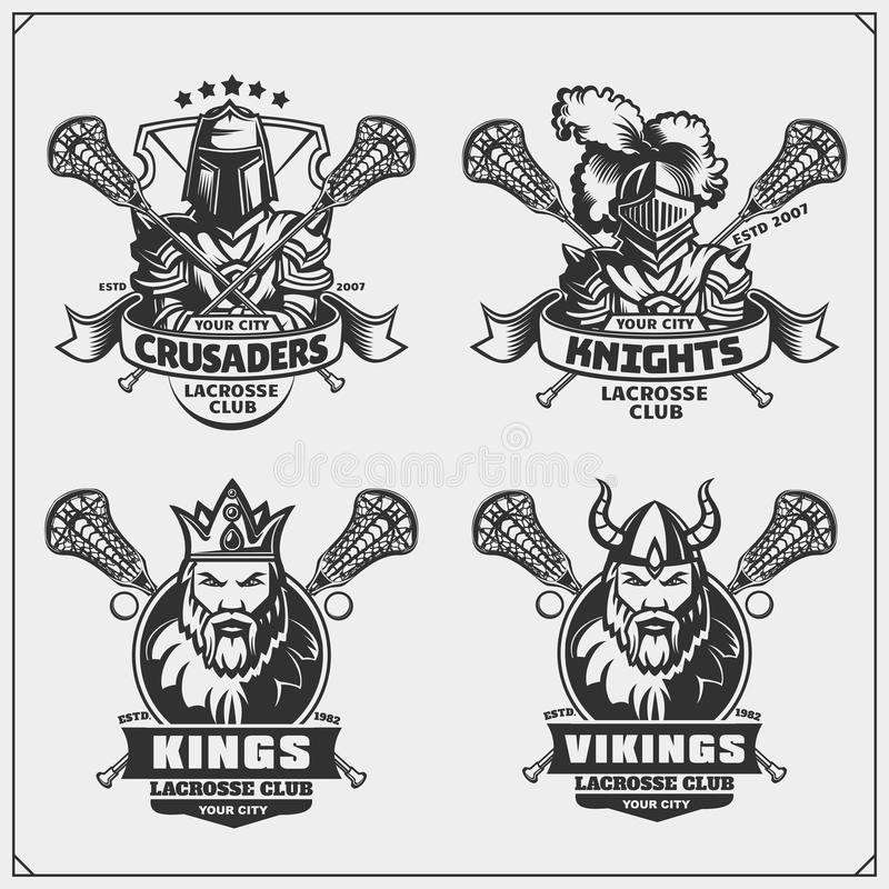 Emblemi del club di lacrosse con vichingo, re, cavaliere e crociato royalty illustrazione gratis