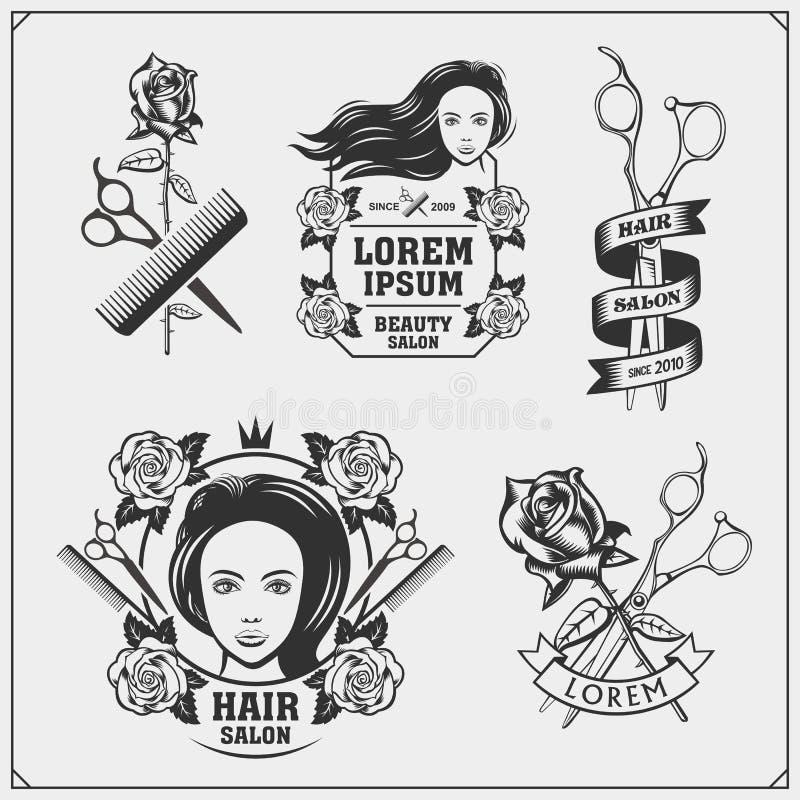 Emblemi del salone di bellezza con il fronte femminile Progetti per il salone del cosmetico, di lavoro di parrucchiere e di belle royalty illustrazione gratis