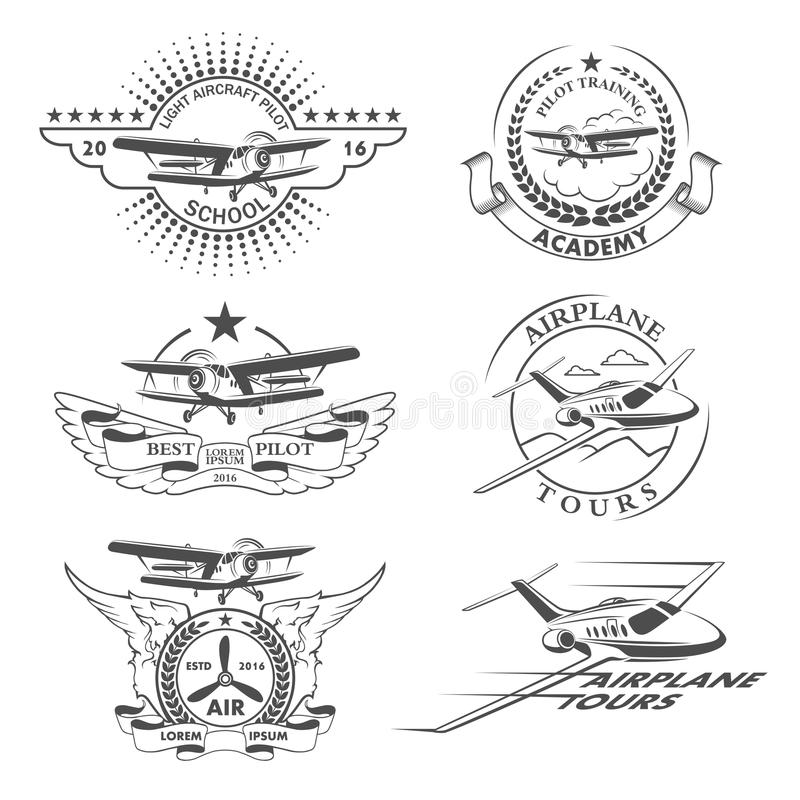 Emblemi dell'aeroplano illustrazione di stock