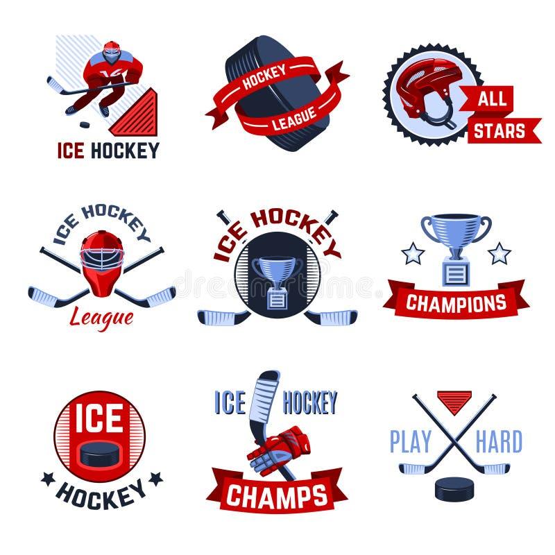 Emblemi dell'hockey messi illustrazione vettoriale