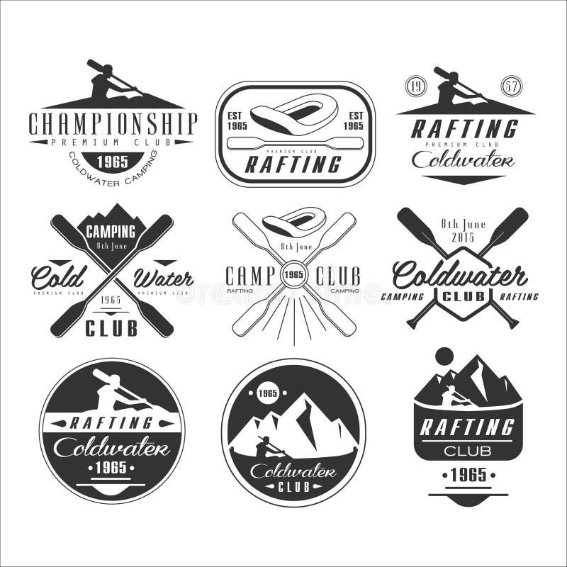 Emblemi della canoa e del kajak, distintivi, elementi di progettazione illustrazione di stock