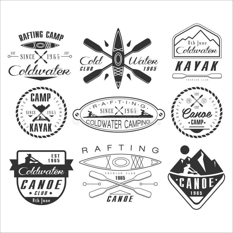 Emblemi della canoa e del kajak, distintivi, elementi di progettazione royalty illustrazione gratis
