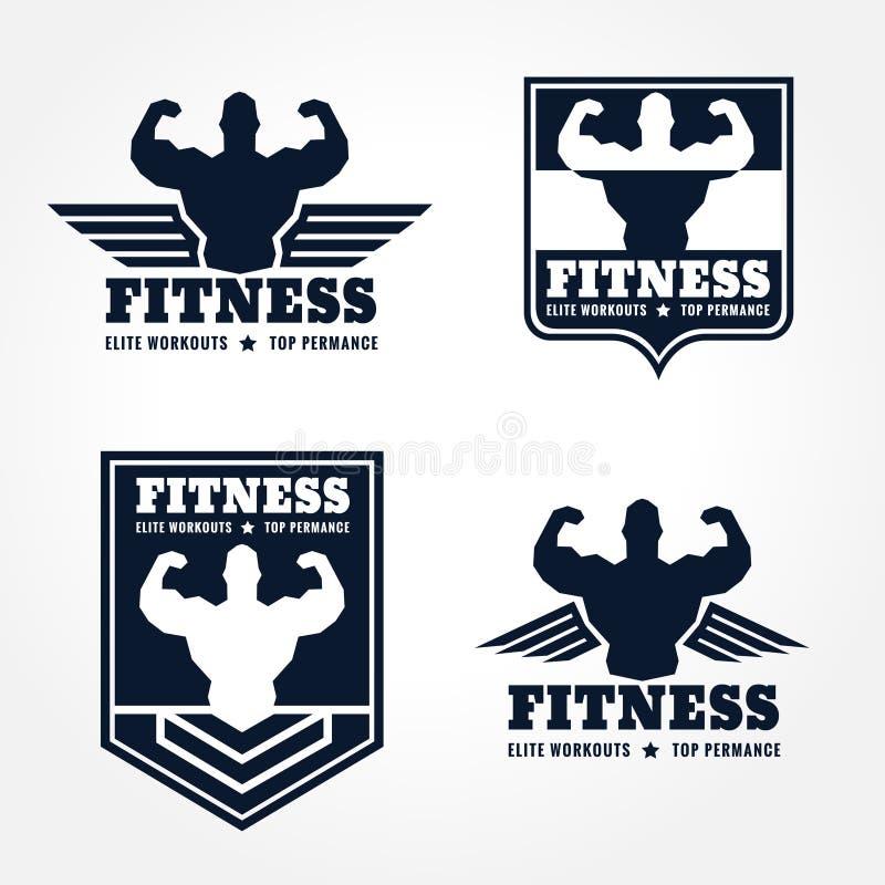 Emblemi di logo di forma fisica nella progettazione grafica di retro stile (ali e tono blu scuro del muscolo) illustrazione vettoriale