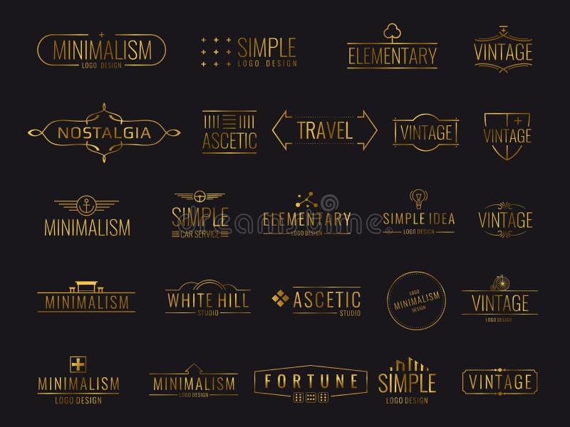 Emblemi di lusso dorati moderni per l'etichetta di compera illustrazione vettoriale
