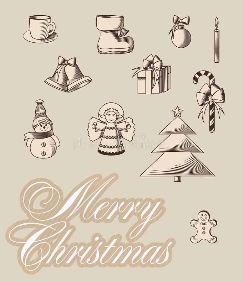 Emblemi di Merrycristmas illustrazione di stock