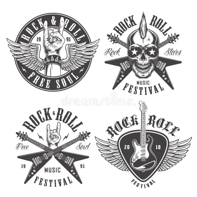 Emblemi di rock-and-roll royalty illustrazione gratis