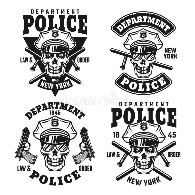 Emblemi di vettore del dipartimento di polizia con il cranio royalty illustrazione gratis