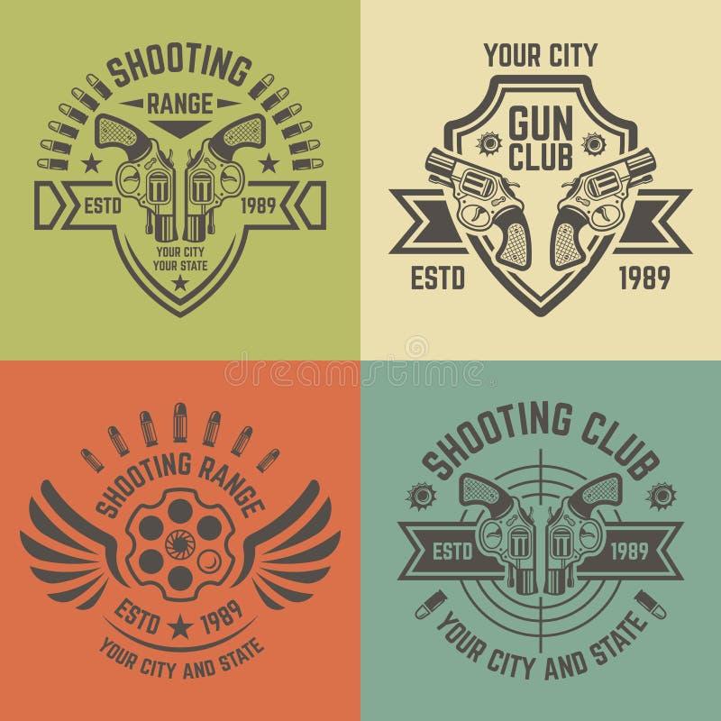 Emblemi di vettore della gamma di fucilazione nello stile d'annata illustrazione di stock