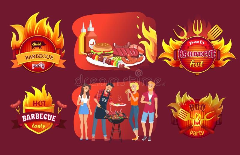 Emblemi e la gente del partito del barbecue intorno alla griglia illustrazione vettoriale