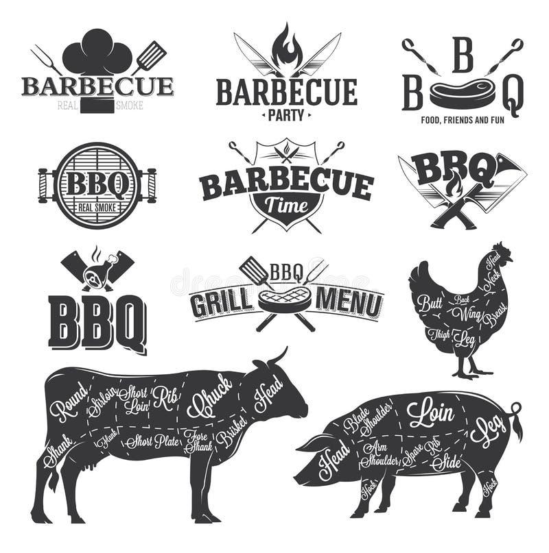 Emblemi e logos del BBQ illustrazione vettoriale