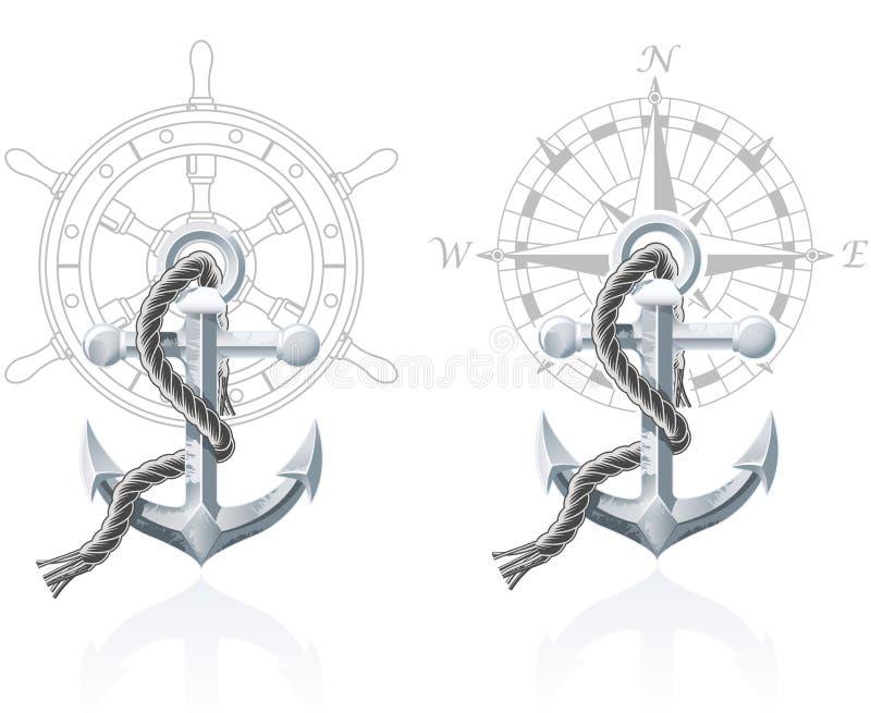 Emblemi nautici illustrazione vettoriale