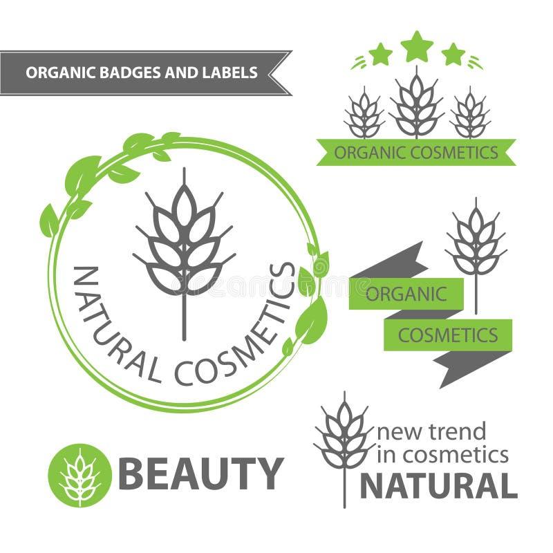 Emblemi stabiliti di vettore dei cosmetici naturali ed organici Distintivi ed etichette organici illustrazione vettoriale