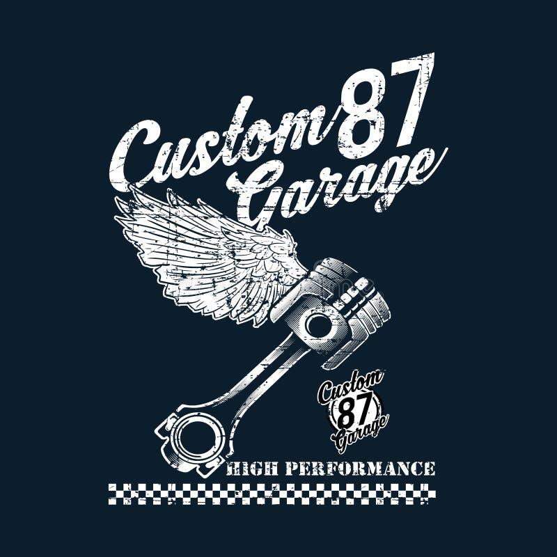 Emblemi su ordinazione d'annata del motociclo, etichette, distintivi, logos, stampe, modelli Stratificato, isolato sul cavaliere  royalty illustrazione gratis