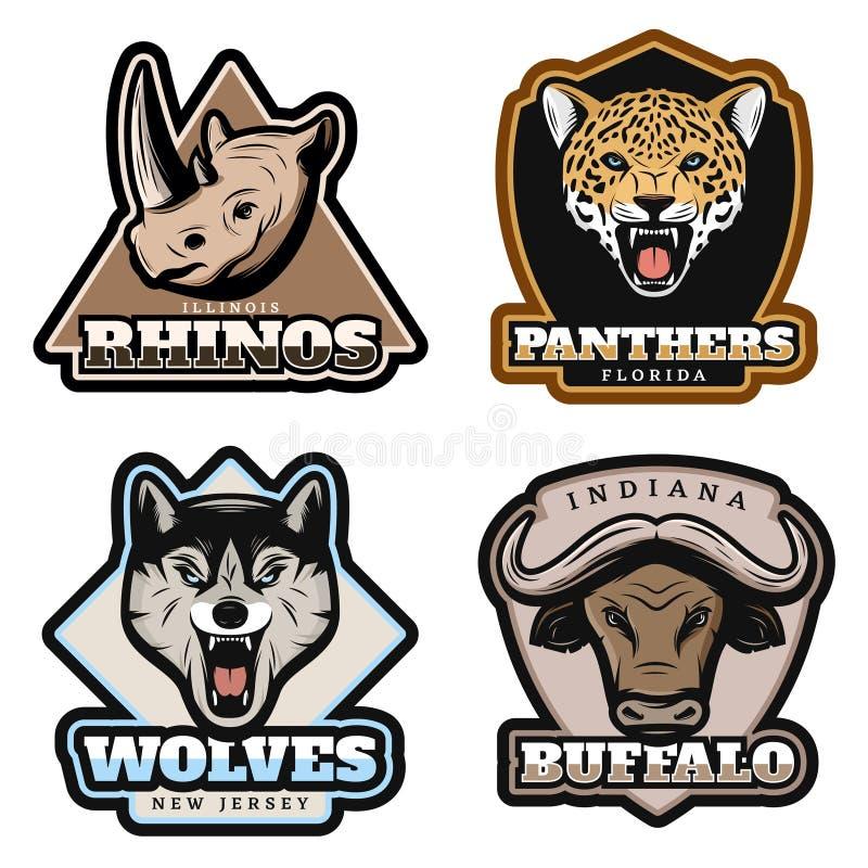 Emblemi variopinti d'annata degli animali messi illustrazione vettoriale