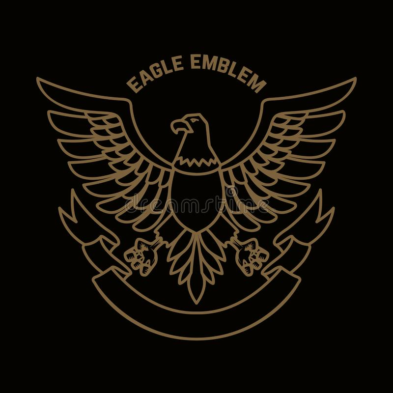 Emblemmall med örnen i guld- stil Planlägg beståndsdelar för logoen, etiketten, tecknet, meny stock illustrationer