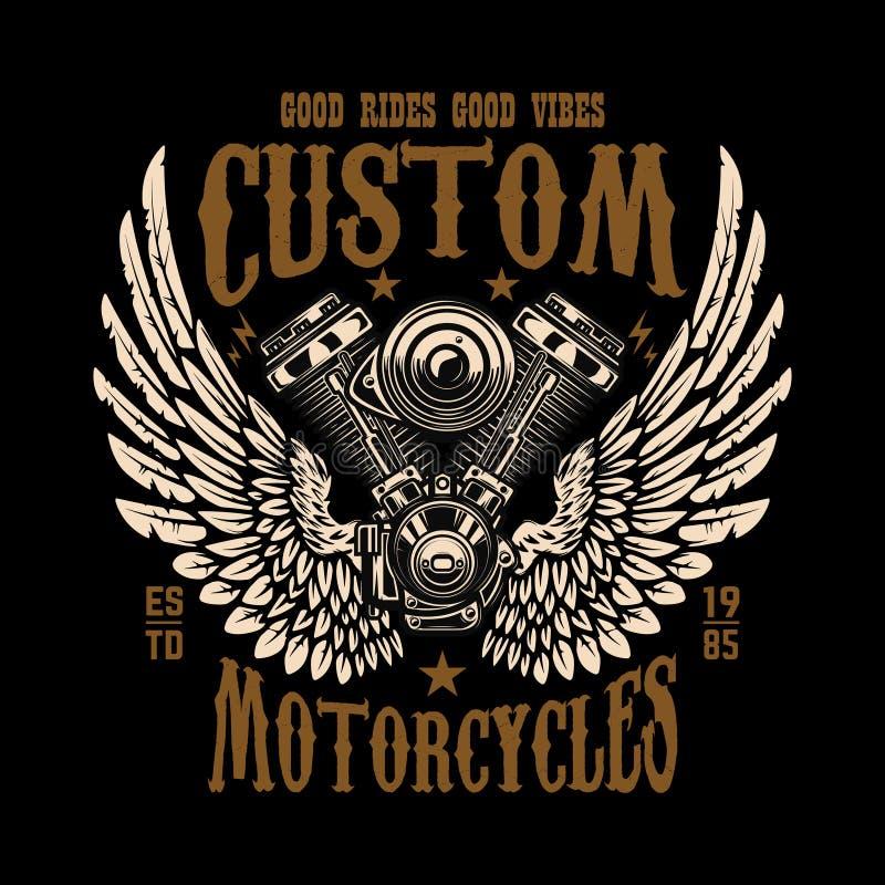 Emblemmall med den bevingade motorcykelmotorn Planlägg beståndsdelen för affisch, logoen, etiketten, tecknet, t-skjorta stock illustrationer