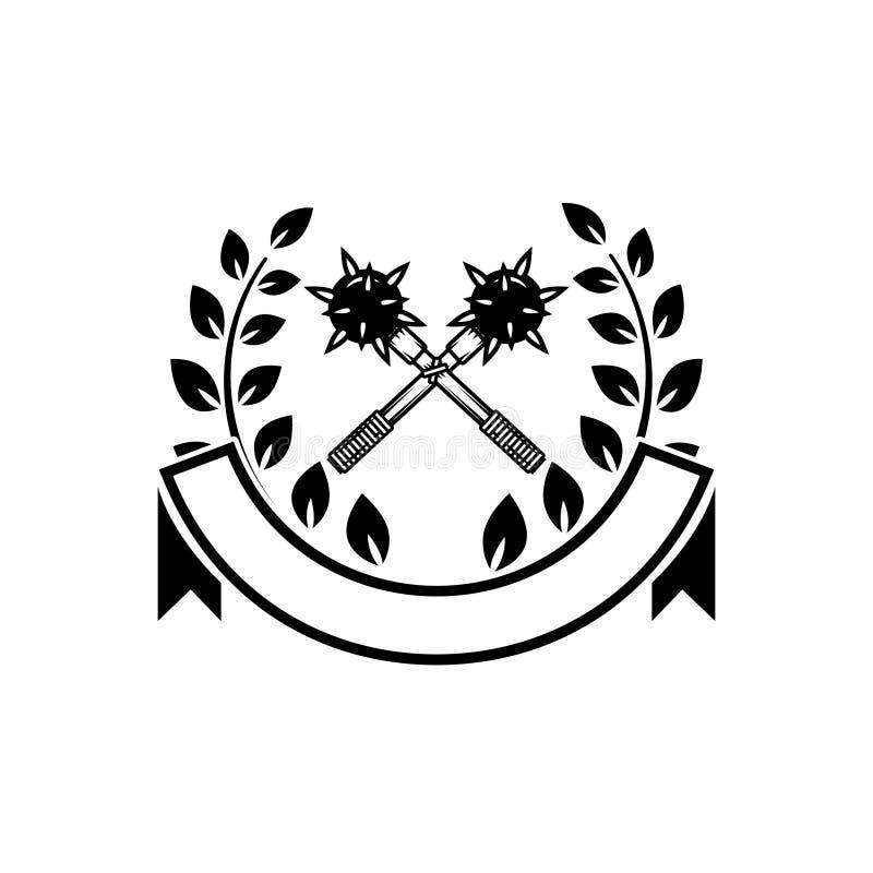 Emblemmall med korsade muskotblommor Planlägg beståndsdelen för logoen, etiketten, emblemet, tecken stock illustrationer