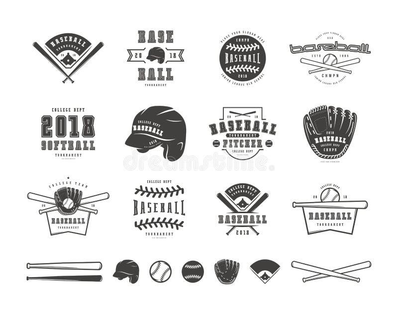 Emblems and badges set of baseball team. Graphic design for t-shirt. Black print on white background royalty free illustration